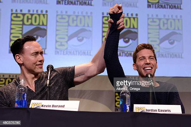 Actors Kevin Durand and Jordan Gavaris speak onstage at the Entertainment Weekly Brave New Warriors panel during ComicCon International 2015 at the...