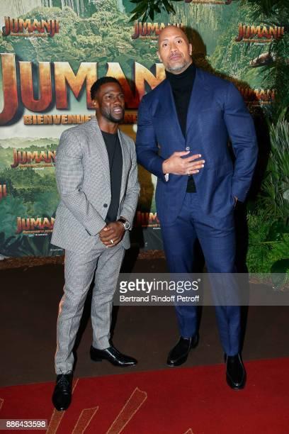 Actors Kevin Hart and Dwayne Johnson attend the 'Jumanji Welcome to the Jungle Jumanji Bienvenue dans la jungle' Paris Premiere at Le Grand Rex on...