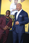 Actors Kevin Hart and Dwayne Johnson attend the Warner Bros Pictures premiere of 'Central Intelligence' held at Regency Village Theater on June 10...