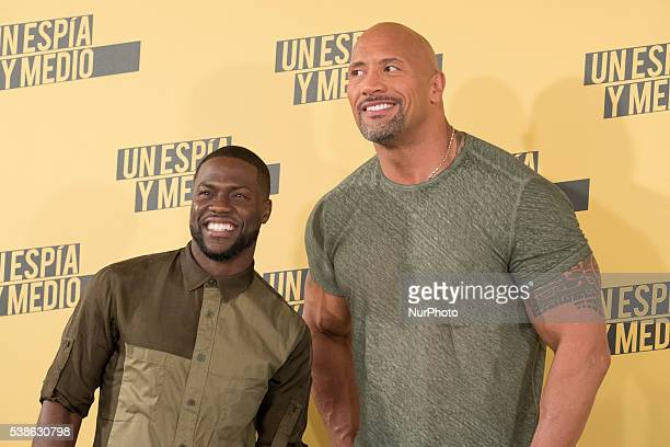 Actors Kevin Hart and Dwayne Johnson attend 'Un espia y medio' photocall at Villamagna hotel on June 7 2016 in Madrid Spain