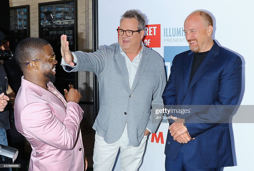 Actors Kevin Hart, Eric Stonestreet and Louis C.K. attend the 'Secret Life Of Pets' New York premiere on June 25, 2016 in New York City.