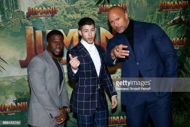 Actors Kevin Hart Nick Jonas and Dwayne Johnson attend the 'Jumanji Welcome to the Jungle Jumanji Bienvenue dans la jungle' Paris Premiere at Le...