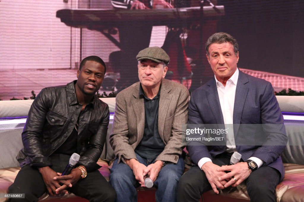 Actors (L - R) Kevin Hart, <a gi-track='captionPersonalityLinkClicked' href=/galleries/search?phrase=Sylvester+Stallone&family=editorial&specificpeople=202604 ng-click='$event.stopPropagation()'>Sylvester Stallone</a> and <a gi-track='captionPersonalityLinkClicked' href=/galleries/search?phrase=Robert+De+Niro&family=editorial&specificpeople=201673 ng-click='$event.stopPropagation()'>Robert De Niro</a> visit 106 & Park at BET studio on December 16, 2013 in New York City.