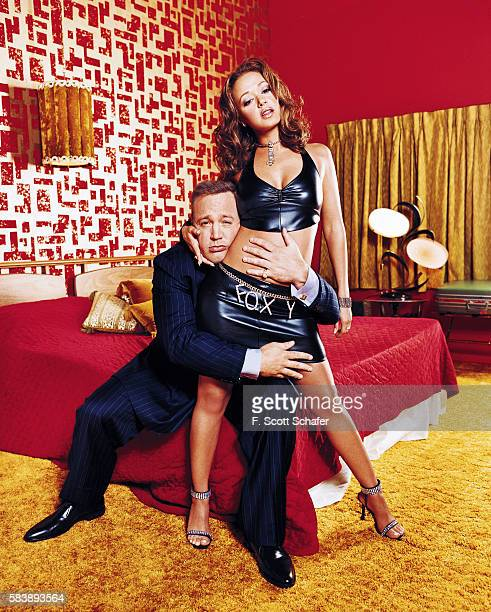 Actors Kevin James and Leah Remini are photographed for Entertainment Weekly Magazine in 2001 in Los Angeles California PUBLISHED IMAGE