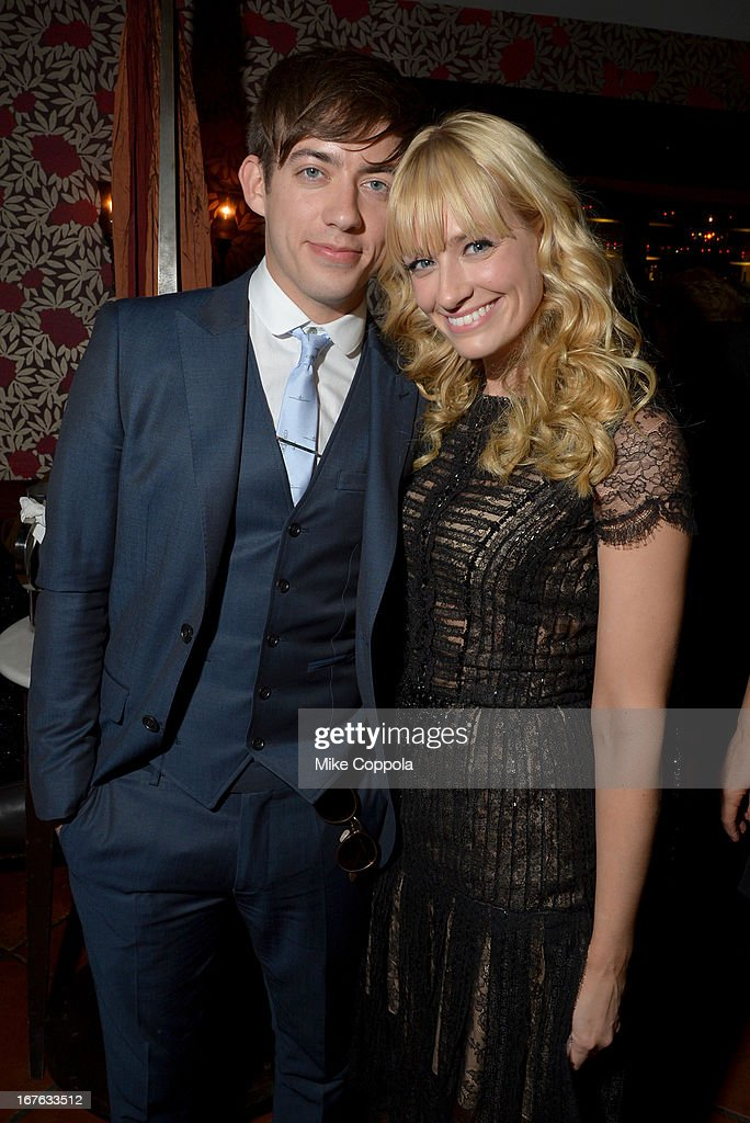 Actors Kevin McHale (L) and <a gi-track='captionPersonalityLinkClicked' href=/galleries/search?phrase=Beth+Behrs&family=editorial&specificpeople=6556378 ng-click='$event.stopPropagation()'>Beth Behrs</a> attend the Celebrating The Arts In American Dinner Party With Distinguished Women In Media Presented By Landmark Technology Inc. And The Creative Coalition at Neyla on April 26, 2013 in Washington, DC.