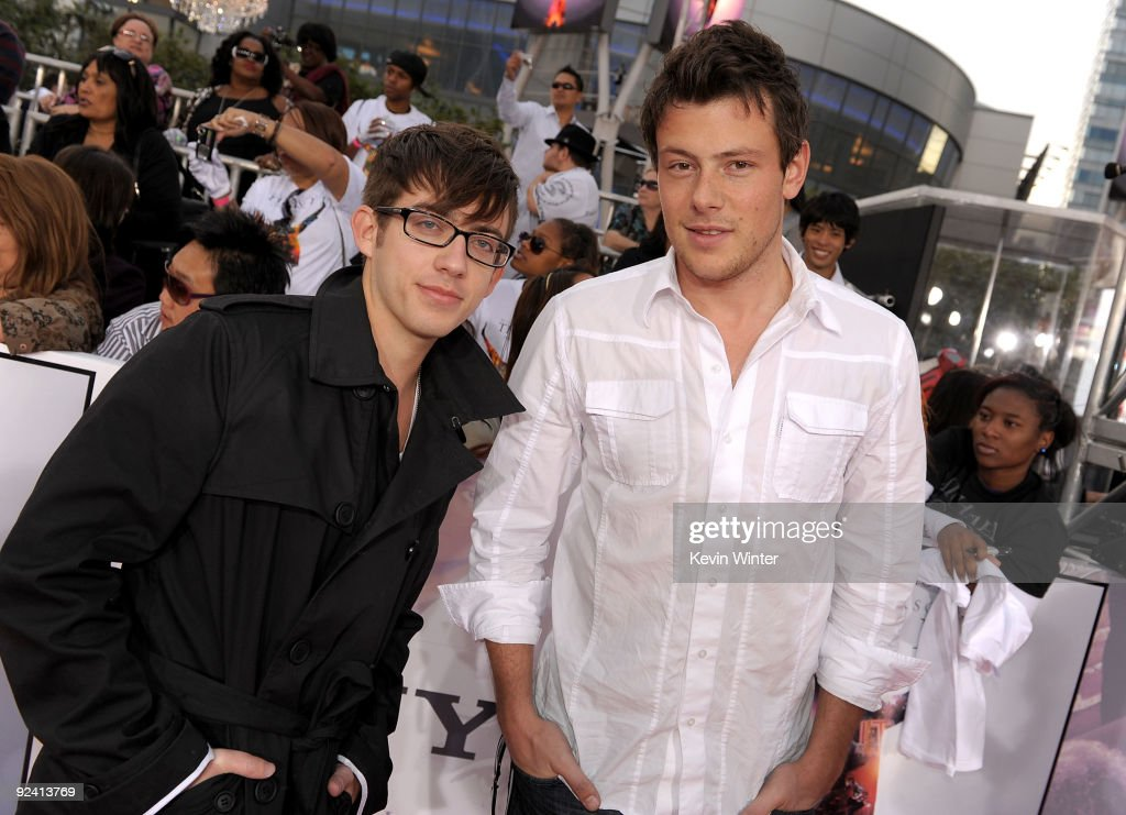 Actors Kevin McHale and Cory Monteith arrive at the premiere of Sony Pictures' 'This Is It' held at Nokia Theatre Downtown LA on October 27 2009 in...