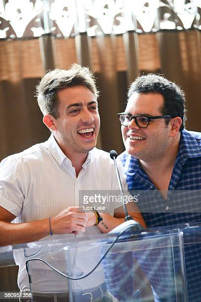 Actors Kevin McHale and Josh Gad attend The Creative Coalition's The Perception Reception at Hotel Monaco on July 25 2016 in Philadelphia Pennsylvania