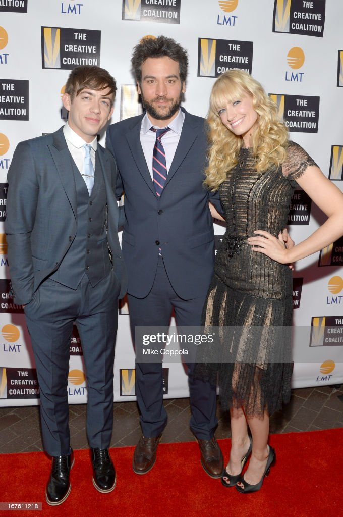 Actors Kevin McHale, Josh Radnor and Beth Behrs attend Celebrating The Arts In American Dinner Party With Distinguished Women In Media presented by Landmark Technology Inc. and The Creative Coalition at Neyla on April 26, 2013 in Washington, DC.