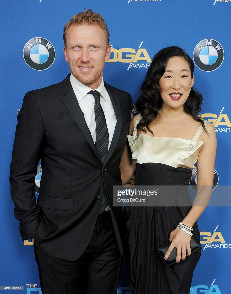 Actors <a gi-track='captionPersonalityLinkClicked' href=/galleries/search?phrase=Kevin+McKidd&family=editorial&specificpeople=808099 ng-click='$event.stopPropagation()'>Kevin McKidd</a> and <a gi-track='captionPersonalityLinkClicked' href=/galleries/search?phrase=Sandra+Oh&family=editorial&specificpeople=203096 ng-click='$event.stopPropagation()'>Sandra Oh</a> arrive at the 66th Annual Directors Guild Of America Awards at the Hyatt Regency Century Plaza on January 25, 2014 in Century City, California.