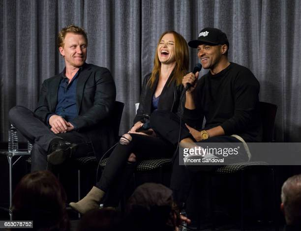 Actors Kevin McKidd Sarah Drew and Jesse Williams attend SAGAFTRA Foundation's Conversations with 'Grey's Anatomy' at SAGAFTRA Foundation Screening...