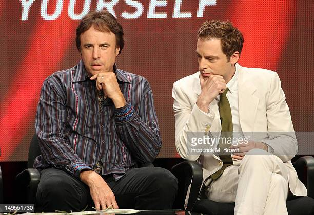 Actors Kevin Nealon and Justin Kirk speak at the 'Weeds' discussion panel during the Showtime portion of the 2012 Summer Television Critics...