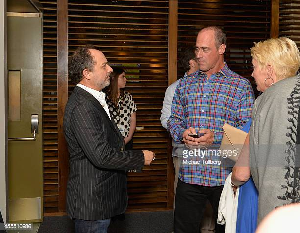 Actors Kevin Pollak and Christopher Meloni chat at the Los Angeles premiere of the documentary 'Pump' at Landmark Theatre on September 15 2014 in Los...