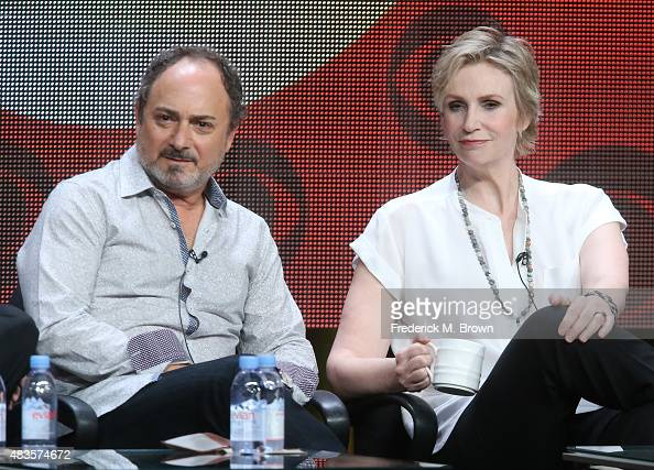 Actors Kevin Pollak and Jane Lynch speak onstage during the 'Angel from Hell' panel discussion at the CBS portion of the 2015 Summer TCA Tour at The...