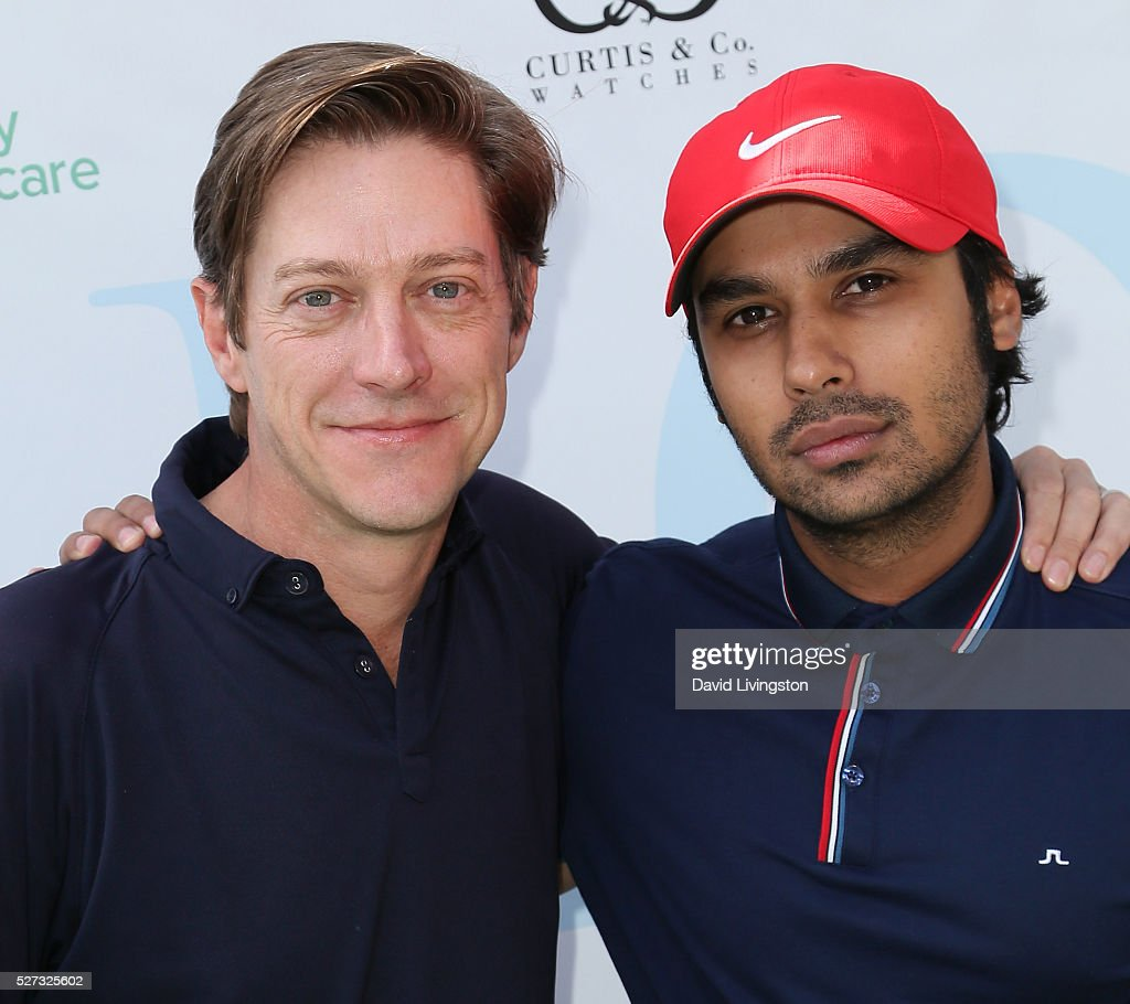 Actors Kevin Rahm (L) and Kunal Nayyar attend the Ninth Annual George Lopez Celebrity Golf Classic at Lakeside Golf Club on May 2, 2016 in Burbank, California.