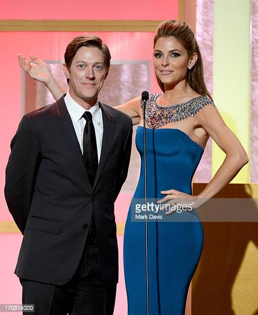 Actors Kevin Rahm and Maria Menounos speak onstage during Broadcast Television Journalists Association's third annual Critics' Choice Television...