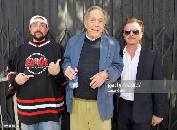 Actors Kevin Smith George Segal and David Spade attend George Segal's star ceremony on the Hollywood Walk of Fame on February 14 2017 in Los Angeles...