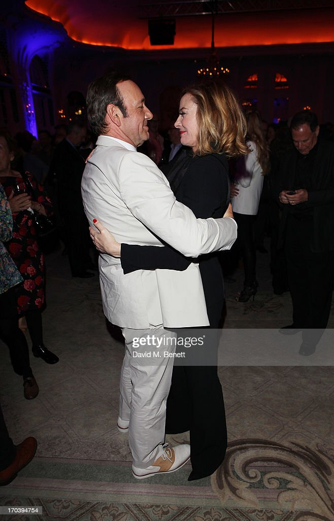 Actors Kevin Spacey and Kim Cattrall attend an after party following the press night performance of The Old Vic's 'Sweet Bird of Youth' at The Savoy Hotel on June 12, 2013 in London, England.