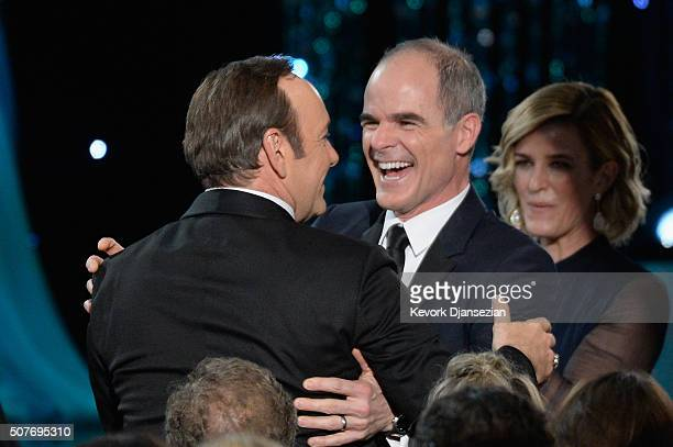 Actors Kevin Spacey and Michael Kelly embrace during the 22nd Annual Screen Actors Guild Awards at The Shrine Auditorium on January 30 2016 in Los...