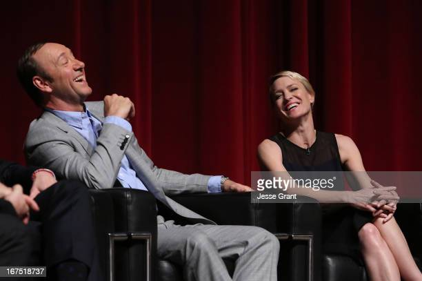 Actors Kevin Spacey and Robin Wright attend Netflix's 'House of Cards' For Your Consideration QA on April 25 2013 at the Leonard H Goldenson Theatre...