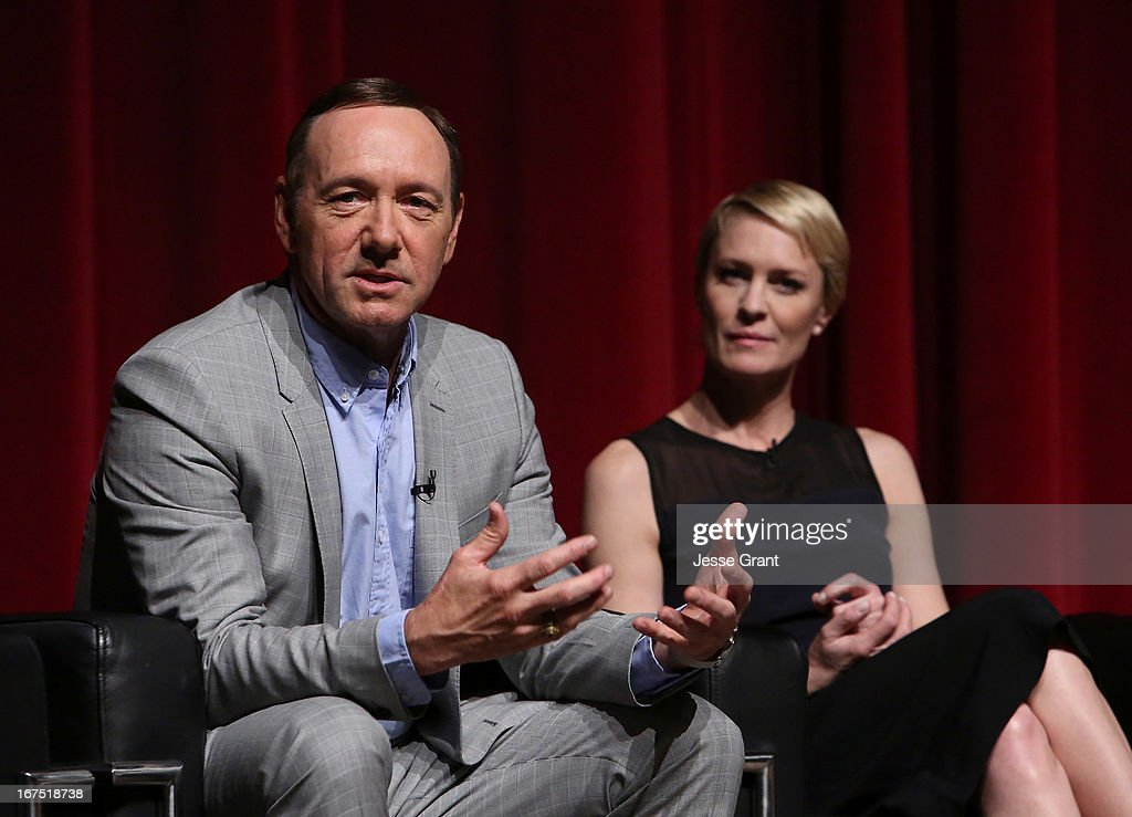 Actors <a gi-track='captionPersonalityLinkClicked' href=/galleries/search?phrase=Kevin+Spacey&family=editorial&specificpeople=202091 ng-click='$event.stopPropagation()'>Kevin Spacey</a> and <a gi-track='captionPersonalityLinkClicked' href=/galleries/search?phrase=Robin+Wright&family=editorial&specificpeople=207147 ng-click='$event.stopPropagation()'>Robin Wright</a> attend Netflix's 'House of Cards' For Your Consideration Q&A on April 25, 2013 at the Leonard H. Goldenson Theatre in North Hollywood, California.