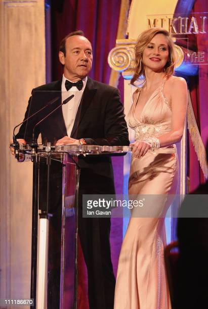 Actors Kevin Spacey and Sharon Stone host at the Gorby 80 Gala at the Royal Albert Hall on March 30 2011 in London England The concert is to...