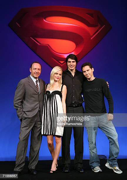 Actors Kevin Spacey Kate Bosworth Brandon Routh and director Bryan Singer pose during a news conference for their film 'Superman Returns'at a Tokyo...