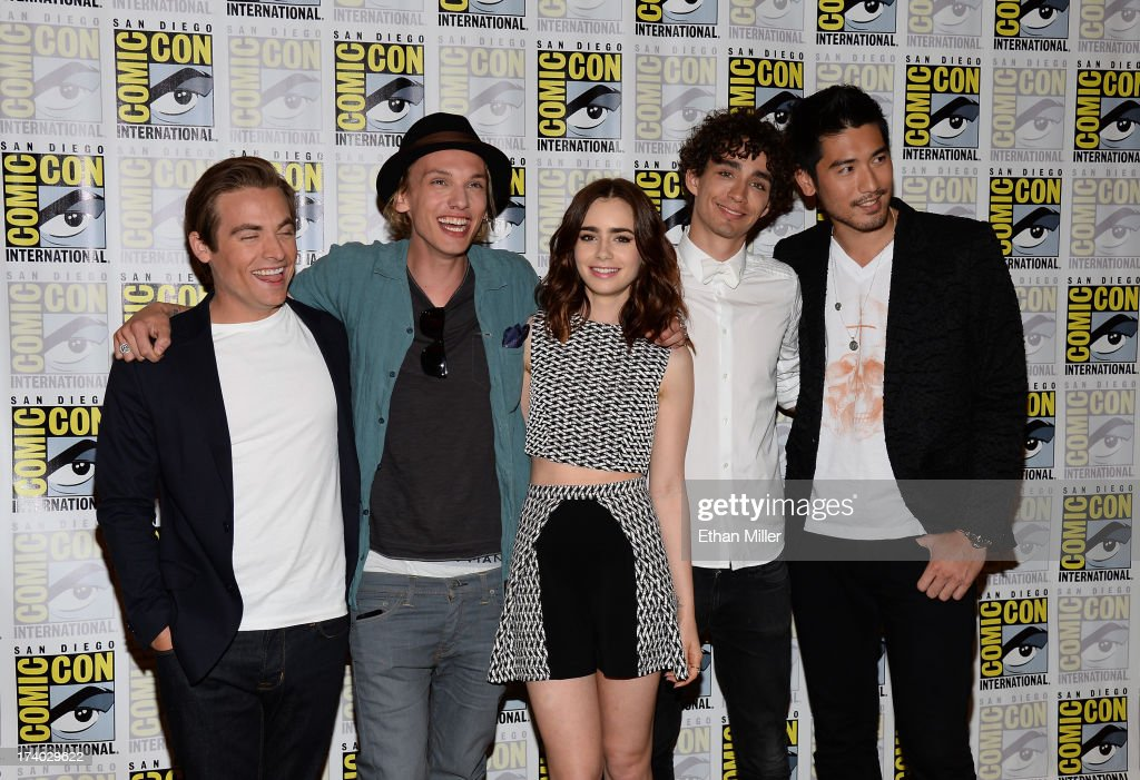 Actors Kevin Zegers, Jamie Campbell Bower, Lily Collins, Robert Sheehan and Godfrey Gao attend 'The Mortal Instruments: City of Bones' press line during Comic-Con International 2013 at the Hilton San Diego Bayfront Hotel on July 19, 2013 in San Diego, California.