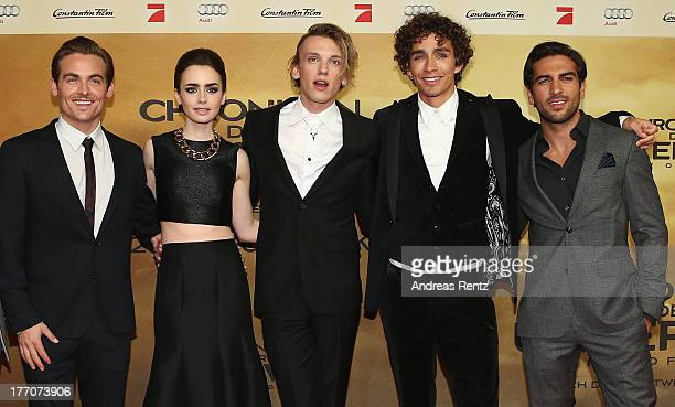 Actors Kevin Zegers Lily Collins Jamie Campbell Bower Robert Sheehan and Elyas M'Barek arrive for the 'The Mortal Instruments City of Bones' Germany...