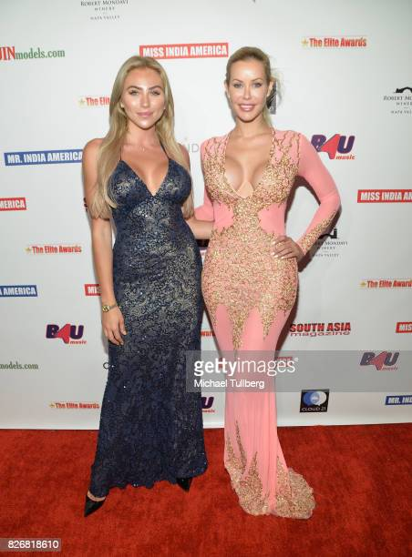 Actors Khloe Terae and Kennedy Summers attend the Elite Awards ceremony charity gala for Jagriti at Renaissance Los Angeles Airport Hotel on August 5...