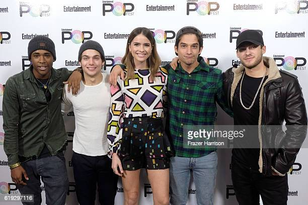 Actors Khylin Rambo Dylan Sprayberry Shelley Hennig Tyler Posey and Cody Christian pose backstage during Entertainment Weekly's PopFest at The Reef...
