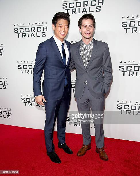 Actors Ki Hong Lee and Dylan O'Brien attend 'Maze Runner The Scorch Trials' New York premiere at Regal EWalk on September 15 2015 in New York City