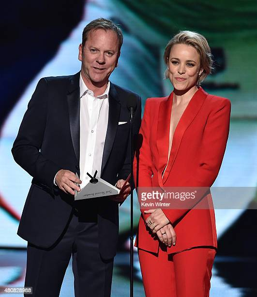 Actors Kiefer Sutherland and Rachel McAdams speak onstage during The 2015 ESPYS at Microsoft Theater on July 15 2015 in Los Angeles California