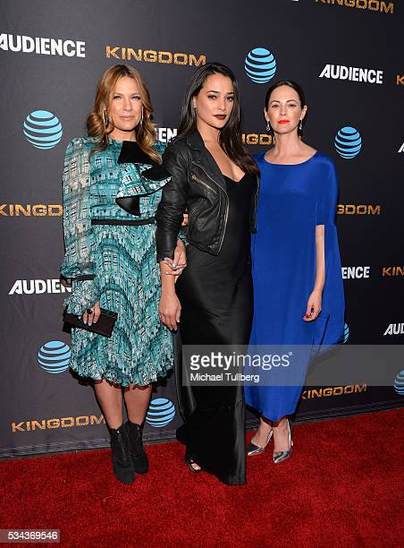 Actors Kiele Sanchez Natalie Martinez and Joanna Going attend the premiere screening for DirecTV's 'Kingdom' at Harmony Gold Theater on May 25 2016...