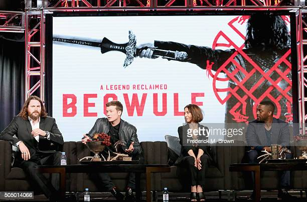 Actors Kieran Bew Ed Speleers Joanne Whalley and David Ajala speak onstage during the 'Beowulf' panel discussion at the NBCUniversal portion of the...