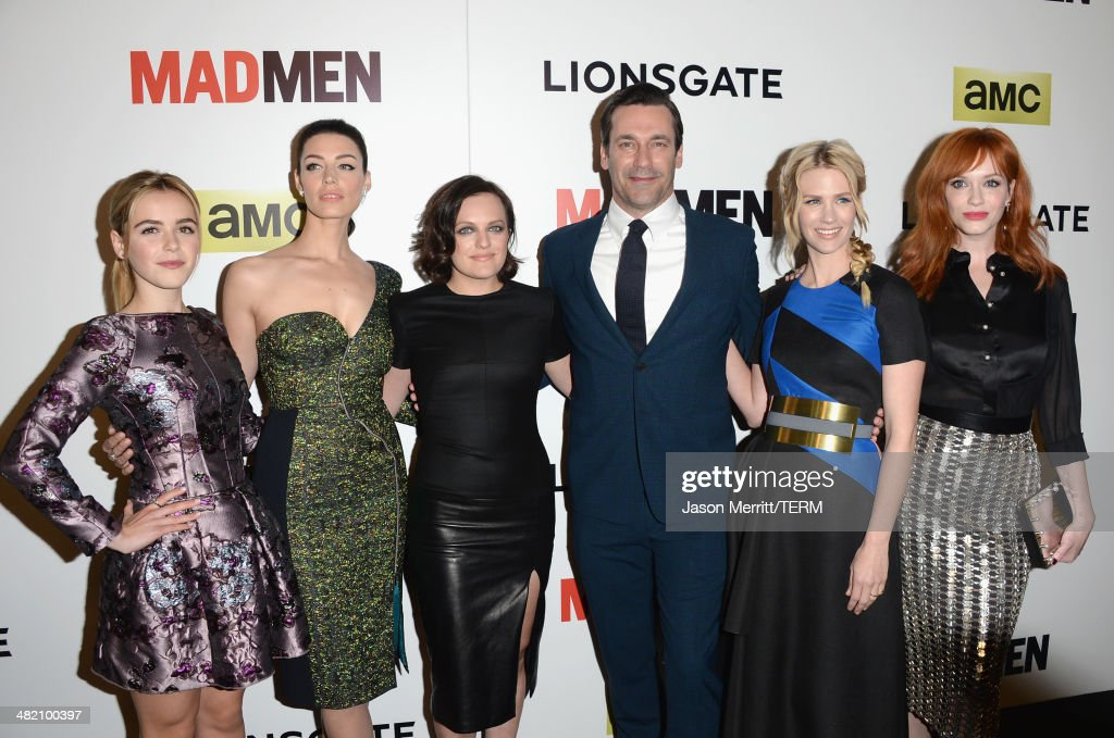Actors Kiernan Shipka, Jessica Pare, Elisabeth Moss, Jon Hamm, January Jones and Christina Hendricks attend the AMC celebration of the 'Mad Men' season 7 premiere at ArcLight Cinemas on April 2, 2014 in Hollywood, California.