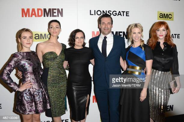 Actors Kiernan Shipka Jessica Pare Elisabeth Moss Jon Hamm January Jones and Christina Hendricks attend the AMC celebration of the 'Mad Men' season 7...