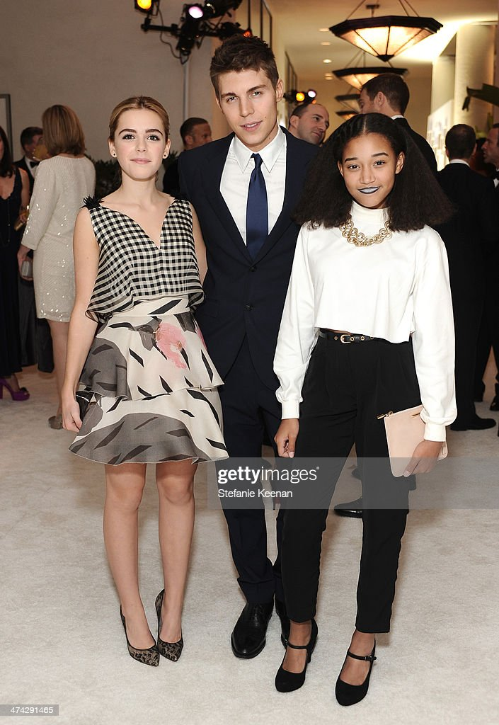 Actors Kiernan Shipka, Nolan Gerard Funk and Amandla Stenberg attend the 16th Costume Designers Guild Awards with presenting sponsor Lacoste at The Beverly Hilton Hotel on February 22, 2014 in Beverly Hills, California.