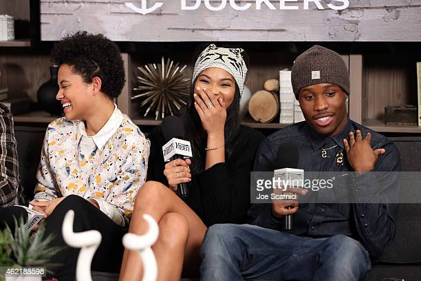 Actors Kiersey Clemons Chanel Iman and Shameik Moore speak at The Variety Studio At Sundance Presented By Dockers on January 25 2015 in Park City Utah