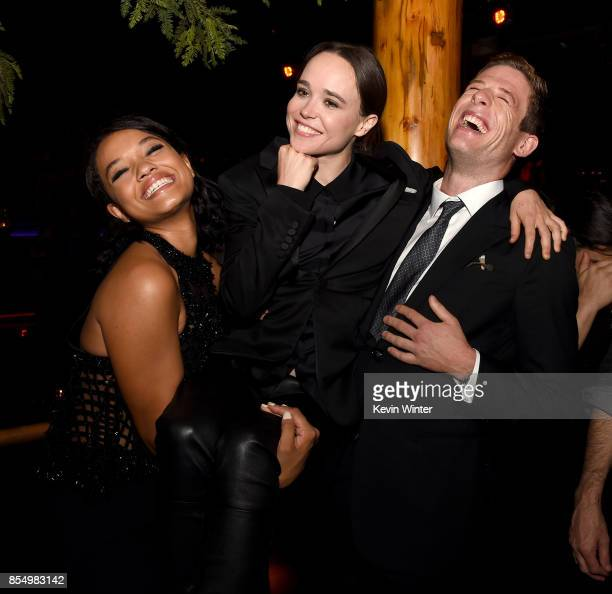Actors Kiersey Clemons Ellen Page and James Norton pose at the after party for the premiere of Columbia Pictures' 'Flatliners' at Clifton's Cafeteria...