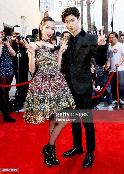 Actors Kiko Mizuhara and Haruma Miura attend the 'ATTACK ON TITAN' World Premiere on July 14 2015 in Hollywood California