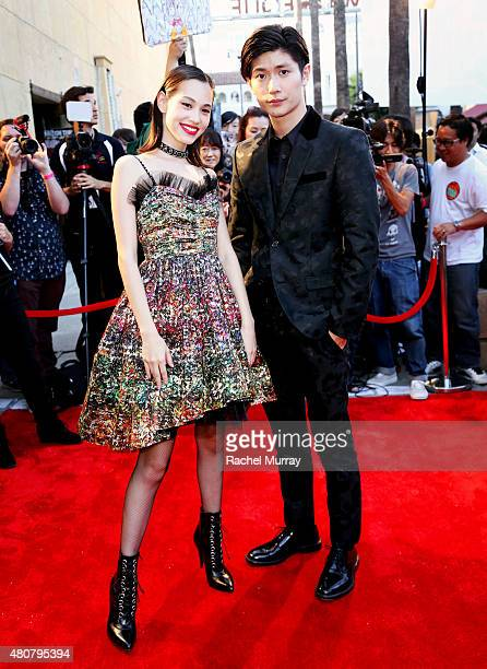 Actors Kiko Mizuhara and Haruma Miura attend the 'ATTACK ON TITAN' World Premiere on July 14 2015 in Hollywood California