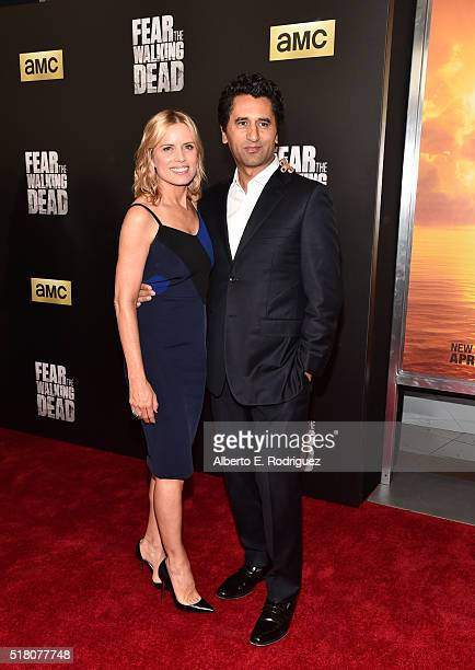 Actors Kim Dickens and Cliff Curtis attend the premiere of AMC's 'Fear The Walking Dead' Season 2 at Cinemark Playa Vista on March 29 2016 in Los...