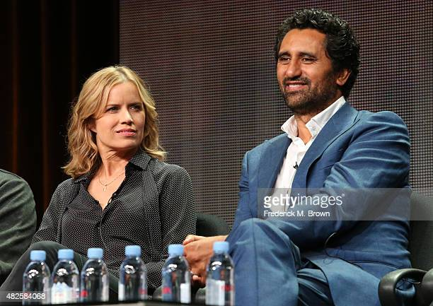 Actors Kim Dickens and Cliff Curtis speak onstage during the 'Fear the Walking Dead' panel discussion at the AMC/IFC Networks portion of the 2015...
