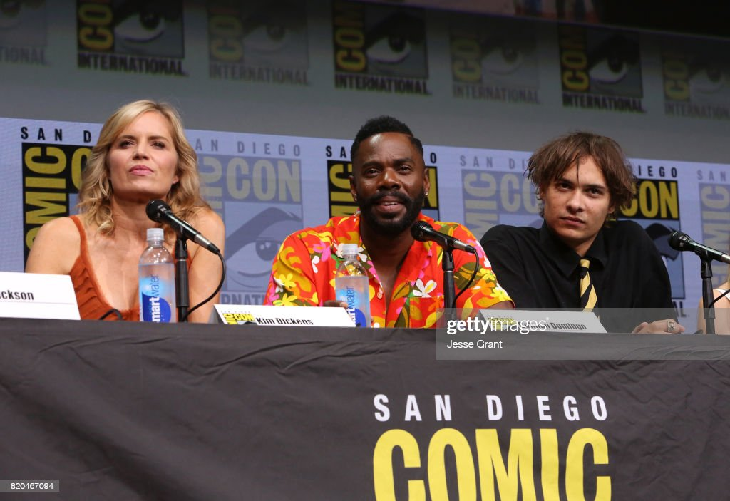 Actors Kim Dickens, Colman Domingo and Frank Dillane from 'Fear The Walking Dead' at the Hall H panel with AMC at San Diego Comic-Con International 2017 at the San Diego Convention Center on July 21, 2017 in San Diego, California.