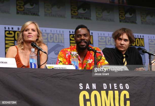Actors Kim Dickens Colman Domingo and Frank Dillane from 'Fear The Walking Dead' at the Hall H panel with AMC at San Diego ComicCon International...