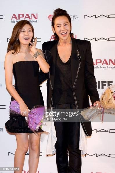 Actors Kim HaNeul and Jang KeunSuk arrive for the Asia Pacific Actors Network Star Road of the 16th Busan International Film Festival at the Haeundae...