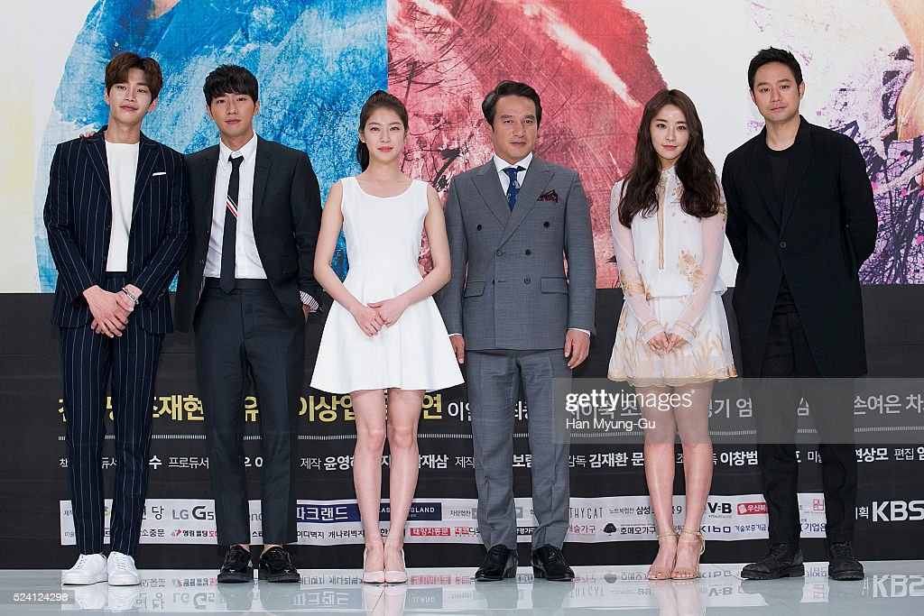 Actors Kim JaeYoung Lee SangYeob Gong SeungYeon Cho JaeHyun and Jeong YuMi attend the KBS Drama 'The Master Of Revenge God Of Noodles' press...