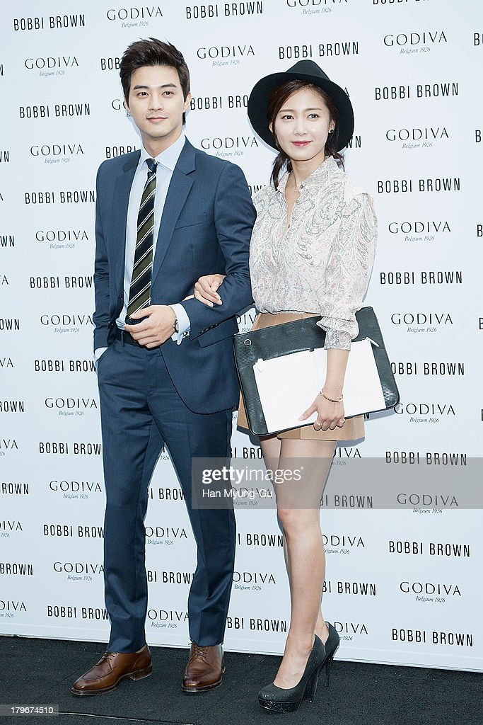 Actors Kim Ji-Hoon and <a gi-track='captionPersonalityLinkClicked' href=/galleries/search?phrase=Nam+Sang-Mi&family=editorial&specificpeople=687698 ng-click='$event.stopPropagation()'>Nam Sang-Mi</a> attend during the Bobbi Brown 'Rich Chocolate Collection' Launching Party With Godiva at Godiva flagship store on September 6, 2013 in Seoul, South Korea.