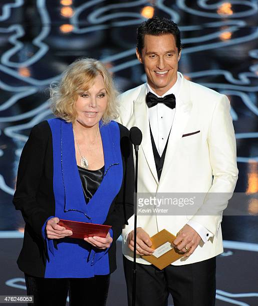 Actors Kim Novak and Matthew McConaughey speak onstage during the Oscars at the Dolby Theatre on March 2 2014 in Hollywood California