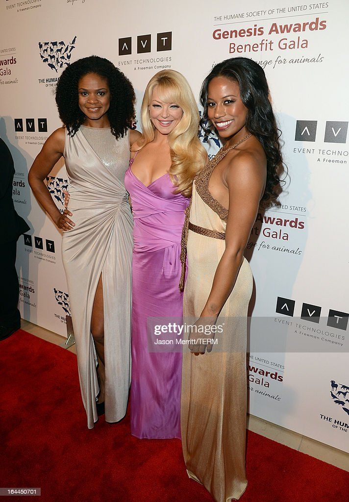 Actors Kimberly Elise, Charlotte Ross and Taylour Paige attend The Humane Society of the United States 2013 Genesis Awards Benefit Gala at The Beverly Hilton Hotel on March 23, 2013 in Los Angeles, California.